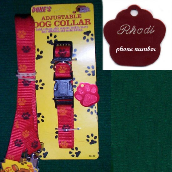 Engraved Red Paw Dog Tag with matching collar & leash