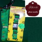 Engraved Green Paw Dog Tag with matching collar & leash