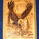 "Native American Woodburning Art Fishing Eagle 6.5x9"""