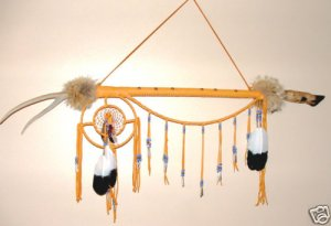 Indian Dance Stick Deer Antler & Dreamcatcher Native American