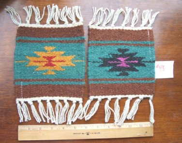 """2 Coasters Table Rugs 6x6"""" Woven Wool Fringed Southwest #43"""