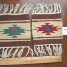 "2 Coasters Table Rugs 6x6"" Wool Fringed Southwest #44"