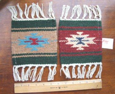 "2 Coasters Table Rugs 6x6"" Wool Fringed Southwest #45"