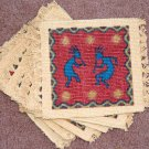 Coasters Set of 6 Dancing Kokopelli Southwest theme Thick Canvas #2