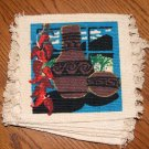 Coasters Set of 6 SW Pottery & Strung Hot Peppers 6x6""