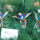 3 Hummingbird Christmas Ornaments Hand Beaded Fair Trade #50