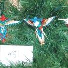 3 Hummingbird Christmas Ornaments Hand Beaded Fair Trade #51