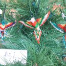 3 Hummingbird Christmas Ornaments Hand Beaded Fair Trade #57