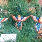 3 Hummingbird Christmas Ornaments Hand Beaded Fair Trade #59