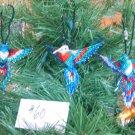 3 Hummingbird Christmas Ornaments Hand Beaded Fair Trade #60