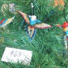 3 Hummingbird Christmas Ornaments Hand Beaded Fair Trade #63