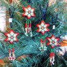 4 Christmas Ornaments Shooting Stars Hand Beaded Fair Trade Red Green & Gold