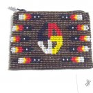 Coin Purse Beaded Medicine Wheel & feathers Lined Zips close Fair trade #15