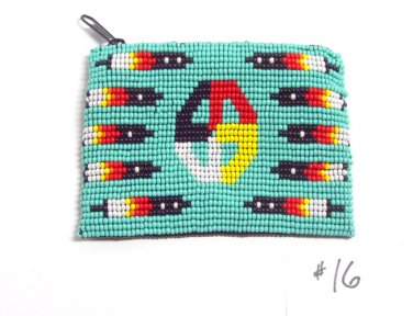 Coin Purse Beaded Medicine Wheel & feathers Lined Zips close Fair trade #16