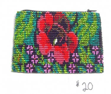 Coin Purse Beaded Floral Design Cloth Lined Zips close Fair trade #20