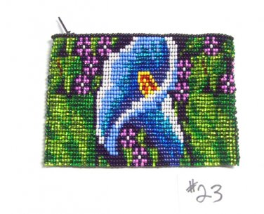 Coin Purse Beaded Floral Design Cloth Lined Zips close Fair trade #23