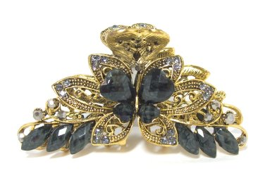 Hair Clip Jeweled Butterfly Black Elegant Hair Fashion New 04