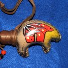 "Native American BEAR Rattle Hand Painted 15"" Antiqued Feathers B4"