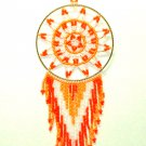 "Beaded Dreamcatcher Christmas or Car Ornament Handmade 2.5x6.5"" D18"