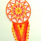 "Beaded Dreamcatcher Christmas or Car Ornament Handmade 2.5x6.5"" D17"