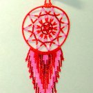 "Beaded Dreamcatcher Christmas or Car Ornament Handmade 2.5x6.5"" D16"