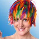 Wig Rainbow Rooster Hackle Feathers Halloween Costume Punk