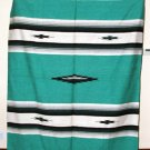 Mexican Blanket Throw Southwestern 5'x7' Teal Green