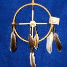 "6"" Native American Medicine Wheel w/ Elk Antler Ctr Gold Leather Navajo SP11"