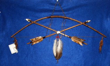 """27"""" Navajo Bow & Crossed Arrows Wall Display w/ Rabbit Totem Little Scout 07"""