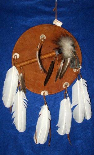 Tomahawk Leather Mandella / Shield Authentic Native American Art CS02