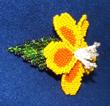 """Columbine Flower Hand Beaded Barrettes 4"""" L French Clip Closure #11"""