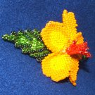 """Columbine Flower Hand Beaded Barrettes 4"""" L French Clip Closure #14"""