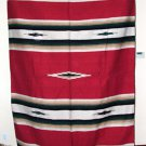 Large 5x7' Mexican Blanket Throw Diamond Center RED Heavyweight & Durable