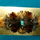 Feathered Barrette Pheasant Feathers & Real Turquoise FREE SHIPPING MFB14
