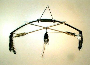 Native American Bow w/ Elk Antler Grip & Arrows Artifact Navajo RJ2