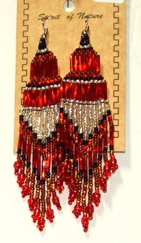 """Beaded Chandelier Earrings 4"""" Length Regalia Pow wow Native American style L82"""