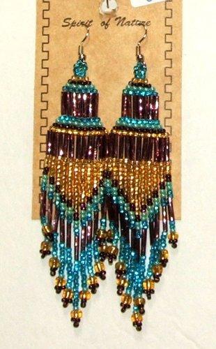 """Beaded Chandelier Earrings 4"""" Length Regalia Pow wow Native American style L84"""