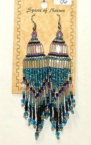 """Beaded Chandelier Earrings 4"""" Length Regalia Pow wow Native American style L86"""
