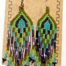 "Beaded Earrings 3"" Length Turquoise Blue Green & Purple Beadwork Regalia SD96"