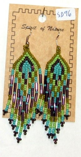 "Beaded Earrings 3"" Length Turquoise Blue Green & Purple Beadwork Regalia SD96"