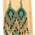 "Beaded Earrings 3"" Length Aqua Gold & Navy Blue Beadwork Regalia SD104"