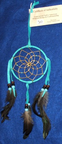 "Dreamcatcher Native American Navajo Indian  4"" dia hoop Turquoise blue #300"