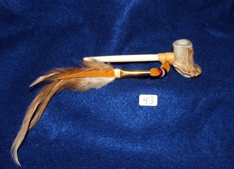 "4.5"" Antler Bowl Pipe w/ Bone Hairpipe Pipe Stem Native American made #43"