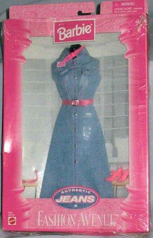 Barbie Fashion Avenue Denim Jean Dress Authentic Jeans 1997 NIB