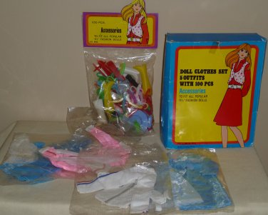 Box of Four Barbie Size Doll Outfits and Bag of Accessories NIB 1970's