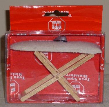 Dollhouse Miniature Padded Wood Ironing Board with Iron NIB