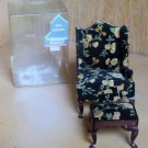 Dollhouse Miniature Flowered Upholstered Wing Chair with Ottoman NIB