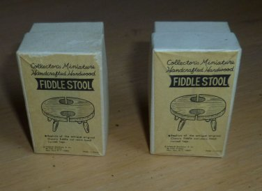 Dollhouse Miniature 1:12 Vtg Shackman Handcrafted Hardwood Fiddle Stools 2