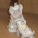 Dollhouse Miniature 5.5 Inch Woman Doll with Carriage and Baby