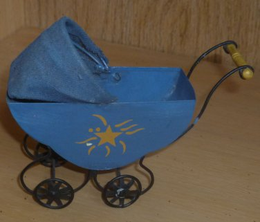 Small Vintage Stationary Tin Metal Doll Carriage Painted Design